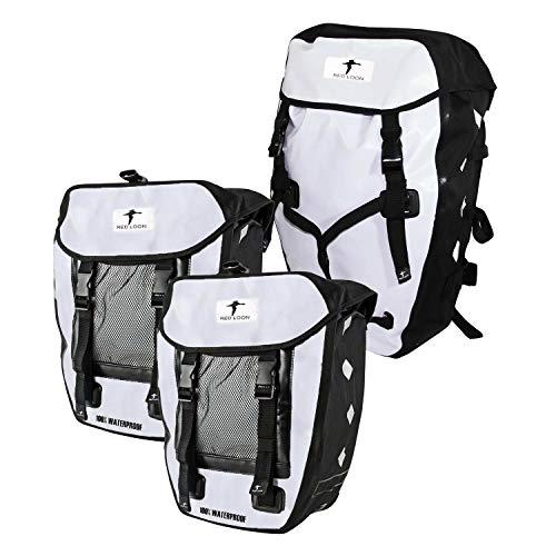 Red Loon 3er Set 2 x robuste Fahrradtasche aus LKW-Plane 1 x Fahrrad-Rucksack – wasserdichte Doppelpacktasche + Rucksack in Weiß