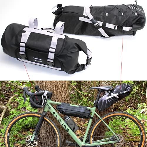 QMBasic Lenkertasche + Satteltasche im Set 17 Liter, 2 Bike Packing Taschen für Mountainbike Rennrad Dirt-Bike Gravel Schwarz